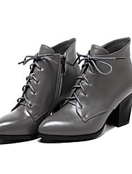Damen-Stiefel-Lässig-Leder-BlockabsatzSchwarz Grau