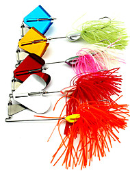 22g/PC Water Fish Hook New Fringed Outdoor Tractor Fluff Composite Gear Sequins Lures 4 PC/Set