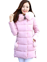 Fall Winter Casual Women's Padded Coat Solid Color Slim Jacket Hooded Long Sleeve