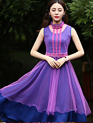 Our Story Women's Going out Sophisticated Sheath DressJacquard Crew Neck Knee-length Sleeveless Purple Polyester