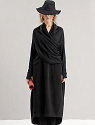 rizhuo mujeres que salen de lana negro pulloversolid v cuello manga larga de invierno acrílico / ocasional / habitual diaria simple /