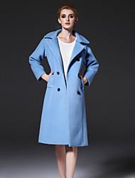 frmz mulheres que saem meio simples coatsolid entalhe lapela manga longa outono / inverno de lã azul / poliéster