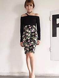 Women's Floral Green SkirtsVintage Knee-length