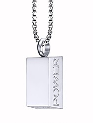 Men's Fashion Simple Cool English Word Power High Polished Stainless Steel Pendant Necklaces(1Pc)