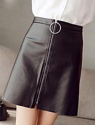 Women's Solid Black SkirtsSexy / Street chic Above Knee