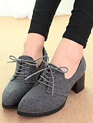 Черный / Серый-Женский-На каждый день-Полиуретан-На толстом каблуке-На платформе-Обувь на каблуках