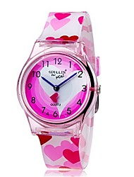 Children's Fashion Lovely Pink Heart shape Design Casual Wrist Quartz Watch with Plastic Band
