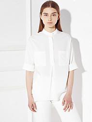 c + impressionner femmes sortant simple ressort / chute col rond manches shirtsolid longueur soie blanche / moyen de rayonne