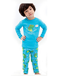 children's Casual/Daily Print Clothing SetCotton Winter / Fall Blue