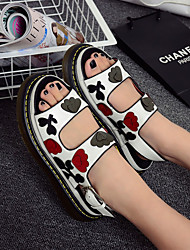 Women's Sandals Spring Summer Fall PU Casual Flat Heel Flower Black White Others