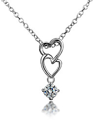 Unique Looks Top Quality 18K White Gold Plating and Real Silver Material Double Heart Pendant Necklace