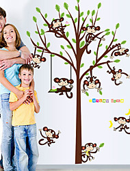 Wall Height Stickers Wall Decals Monkeys Feature Removable Washable PVC