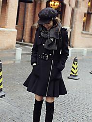 Boutique S Women's Work Vintage CoatSolid Shirt Collar Long Sleeve Winter Black Wool Medium