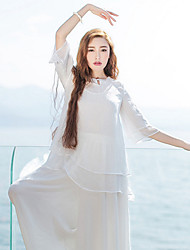 Ramie Cotton Women's Casual/Daily Simple Summer BlouseSolid Crew Neck  Sleeve White Polyester Sheer