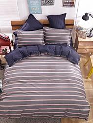 bedtoppings comforter edredão 4pcs colcha definir queen size folha plana fronha da listra microfibra sólido