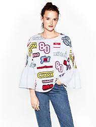 Damen Druck Retro / Einfach Lässig/Alltäglich T-shirt,Rundhalsausschnitt Sommer Langarm Weiß Baumwolle Dünn