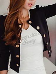 Damen Solide Blazer,Chorhemd Ausschnitt Herbst Langarm Schwarz Mittel