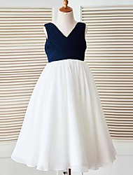 A-line Floor-length Flower Girl Dress - Chiffon Sleeveless V-neck with Side Draping