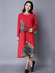 Women's  Vintage Loose DressPatchwork Round Neck Midi Long Sleeve Blue / Red / Black Linen Fall Mid Rise Inelastic