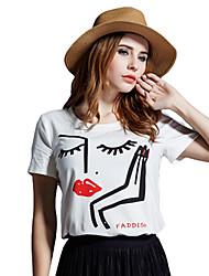 Damen Solide Einfach Lässig/Alltäglich / Übergröße T-shirt,Rundhalsausschnitt Sommer Kurzarm Weiß Polyester Dünn