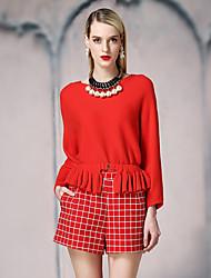 Damen Standard Pullover-Lässig/Alltäglich Street Schick Solide Rot / Schwarz Rundhalsausschnitt Langarm Kunstseide / NylonFrühling /