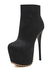 Feminino-Botas-Plataforma Light Up Shoes Botas Cano Curto Botas da Moda Sapatos clube-Salto Agulha-Preto-Couro Ecológico-Social Casual