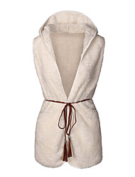 Women's Casual/Daily Simple / Street chic Lamb Wool Waistcoat Spring / Fall JacketsSolid Hooded Sleeveless