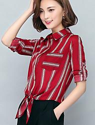 подписать новые весной 2017 новых женщин&# 39, S с короткими рукавами полосатые футболки тонкий шифон блузки