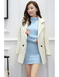 Women's Casual/Daily Simple CoatSolid V Neck Long Sleeve Fall / Winter White / Gray Wool Medium