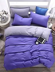 bedtoppings edredón cubierta 4pcs edredón edredón conjunto de matrimonio Almohadas hoja plana de color sólido tejido de microfibra reversible