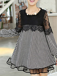 Women's Party / Plus Size Sexy / Vintage / Cute Dress,Solid / Patchwork Round Neck Above Knee Long Sleeve Black Fall