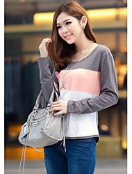 Damen Einfarbig Einfach Lässig/Alltäglich T-shirt,Rundhalsausschnitt Herbst Langarm Grau Baumwolle Dünn