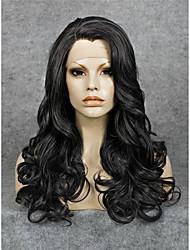 жен. Парики из искусственных волос Лента спереди Длиный Волнистые Черный Природные волосы парик шнурка Парик из натуральных волос