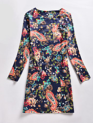 Women's Casual/Daily / Plus Size Sophisticated A Line Dress,Floral Round Neck Above Knee Long Sleeve Blue Polyester Fall / Winter Mid Rise