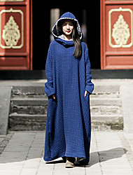 Ramie Cotton Women's Casual/Daily Simple Swing DressSolid Hooded Maxi Long Sleeve Blue