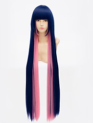100CM Anime Panty & Stocking with Garterbelt Stocking Cosplay Wig Blue Mix Pink Long Straight Synthetic Hair Wig