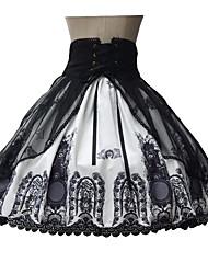 Niedlich Rock Ärmellos Mittlerer Länge Schwarz Lolita Kleid Terylen
