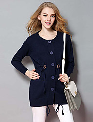 Women's Casual/Daily Simple CardiganSolid Blue Round