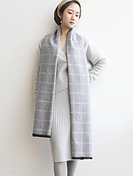 Women's Going out Sexy Winter Set Skirt Suits,Solid V Neck Long Sleeve Gray Cotton Medium