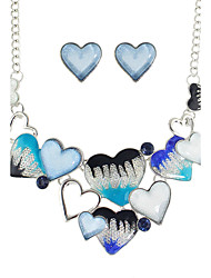 New Colorful Enamel Heart Shape Necklace Earrings Set