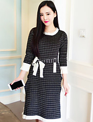 Boutique S Women's Work Vintage Sweater DressStriped Round Neck Knee-length  Sleeve Pink / Black