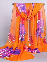 Women's Chiffon Flowers Print Scarf Orange/Blue/Pink/White/Yellow
