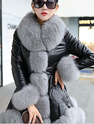 Women's Casual/Daily Simple Fur Coat,Solid Peter Pan Collar Long Sleeve Winter White / Beige / Gray PU Medium