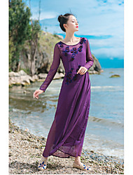 Women's Casual/Daily Vintage A  DressSolid Round Neck Maxi Long Sleeve Purple Silk