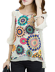 Women's Floral Blue / White Blouse , Round Neck Short Sleeve