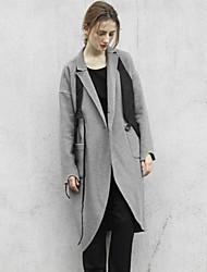 Damen Solide Einfach Ausgehen / Lässig/Alltäglich Mantel,Winter Gekerbtes Revers Langarm Grau Dick Wolle / Acryl / Polyester