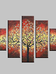 Hand Painted Oil Painting Leaves Colorful Rich Tree Abstract Paintings with Stretched Frame Set of 5