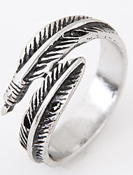 Men European Style Vintage Retro Fashion Feather Leaf Band Ring