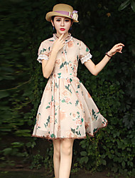 Ample / Gaine Robe Femme Sortie Vintage,Fleur Col Ras du Cou Mi-long Manches Courtes Beige Polyester Eté Taille Haute Micro-élastique