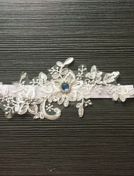 Garter Stretch Satin / Lace Flower / Rhinestone White
